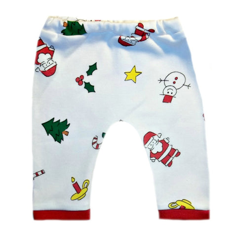 Adorable Christmas Santa Unisex Baby Cotton Knit Pants