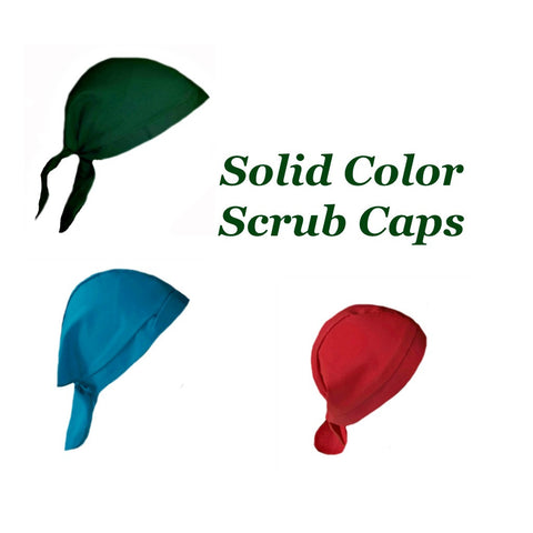 Solid Color Scrub Caps for Surgeons, Doctors and Nurses