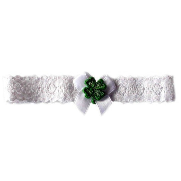 Baby Girls' Lace Shamrock Irish Headband Sized For Preemie and Newborn Babies