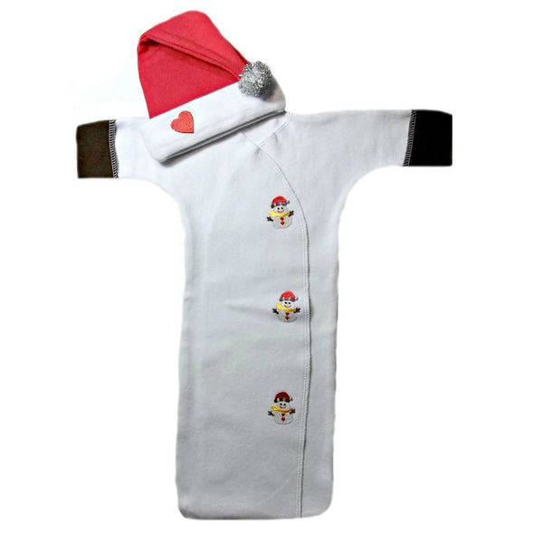 Baby Boys' Happy Snow Man Bunting Gown and Cap Set Sized for Preemie and Newborn Babies