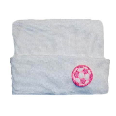 White Baby Girl Hospital Hat with Pink Soccer Ball for Preemies and Newborns