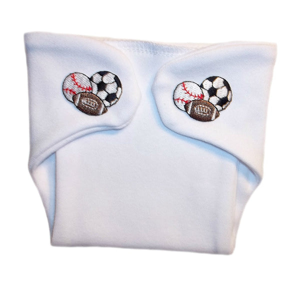 Baby Boys' White Diaper Cover with Sports Balls