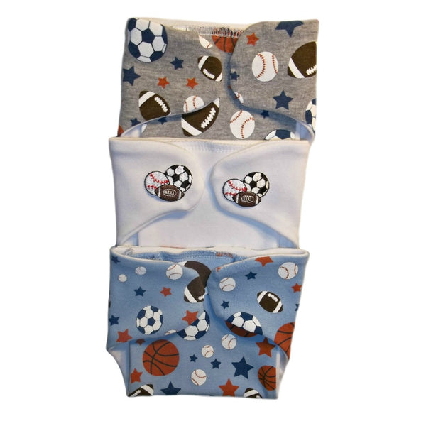 Preemie and Newborn Baby Boys' Sports Balls Diaper Covers - Set of Three