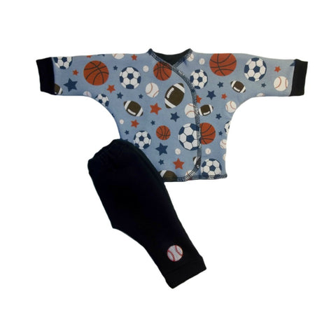 Baby Boys' Blue Sports Balls 2 Piece Clothing Set