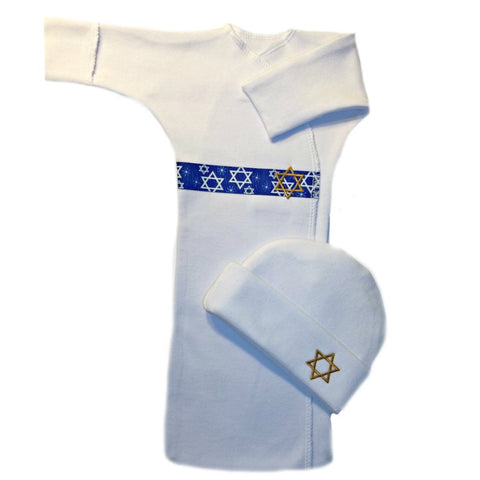 Unisex Baby Jewish Celebrations Long Sleeve Bunting Gown Set Sized For Preemie and Newborn Babies