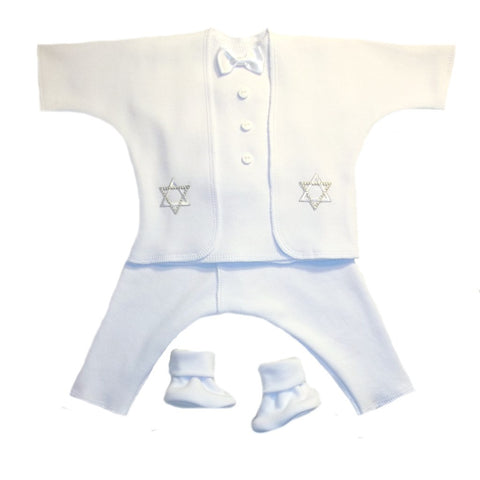 Baby Boys' Star of David White Suit