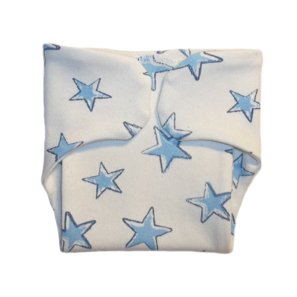 Baby Boys' White Diaper Cover with Blue Stars