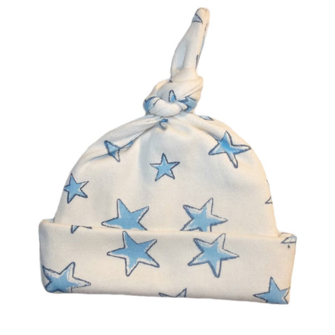 Blue Stars Knotted Baby Hat