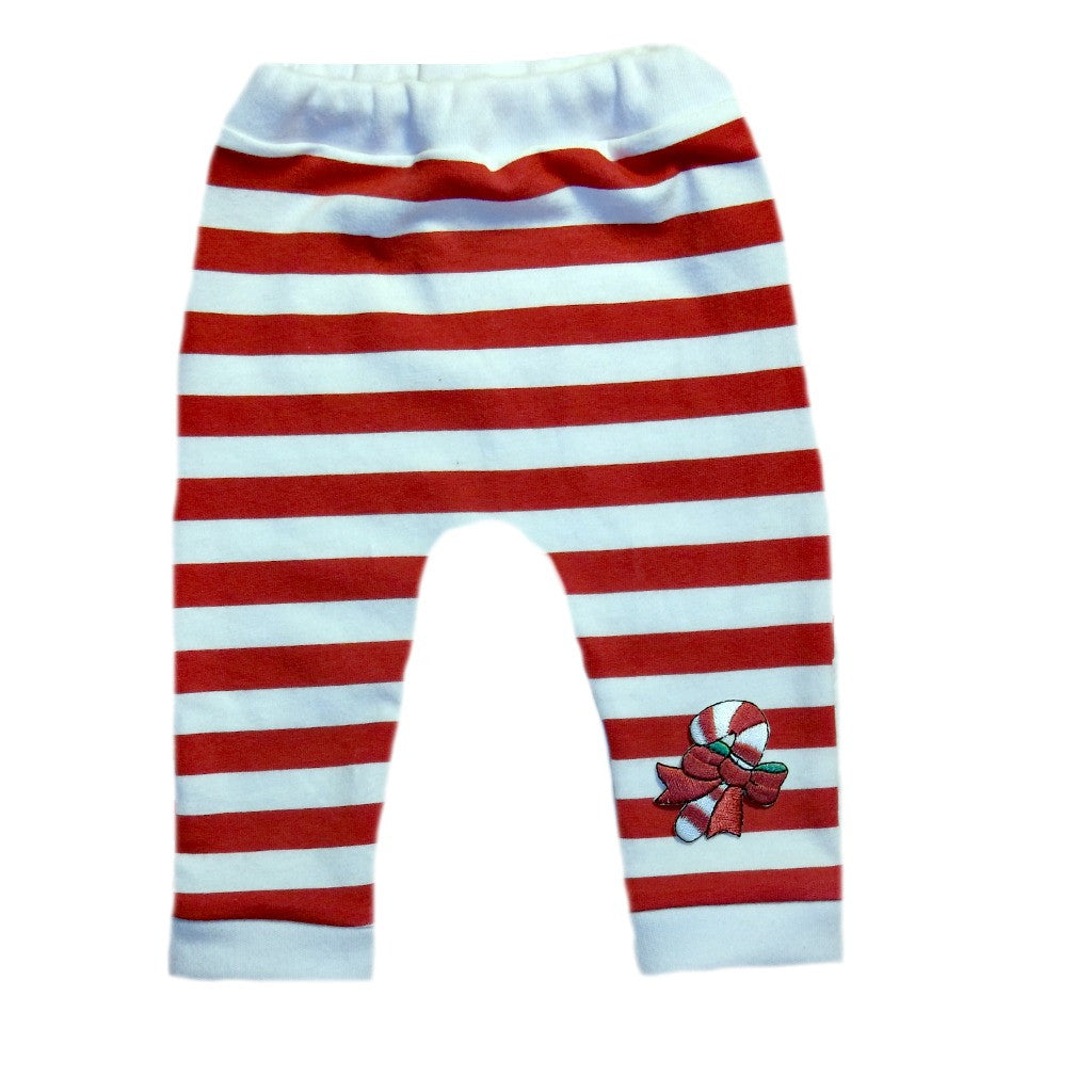 f98587d7b54ec Red and White Striped Unisex Baby Christmas Leggings with Candy Cane