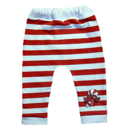 Red and White Striped Unisex Baby Christmas Leggings with Candy Cane