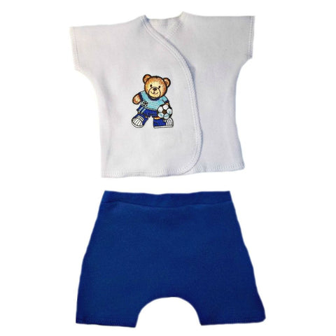 Baby Boys' Soccer Bear Shorts Set for Premature Babies, NICU Micro Preemie and Newborns