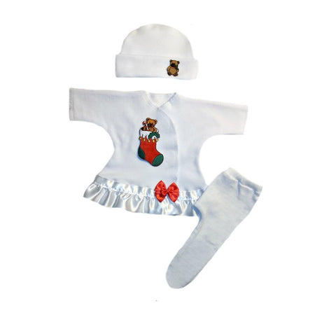 Preemie and Newborn Baby Girls' Christmas Stocking 3 Piece Dress Set