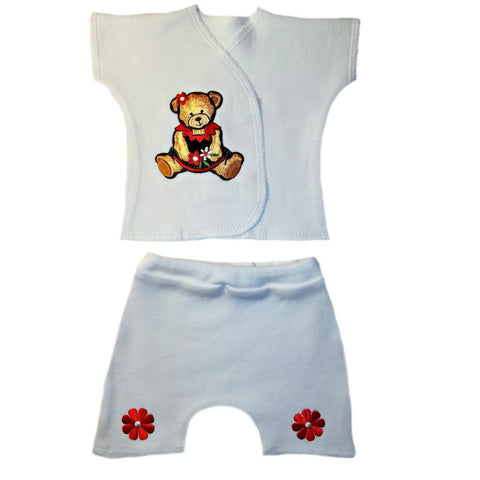 Baby Girls' Sweet Teddy Bear Shorts Set. Perfect for Premature Babies and Newborn Infants.