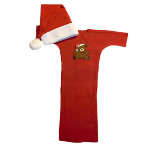 Unisex Babys' Red Teddy Bear Christmas Gown Sized For Preemie and Newborn Babies