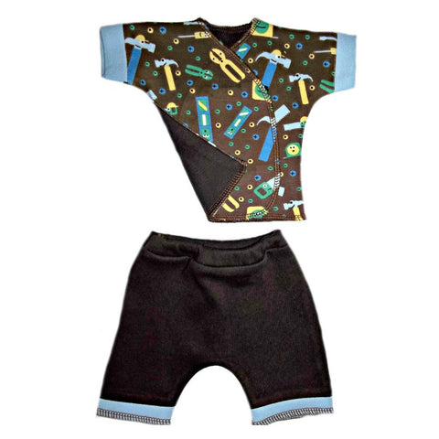 Newborn and Preemie Baby Boys Tools Shorts Clothing Set