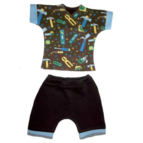 Newborn and Preemie Baby Boys Happy Tools Shorts Clothing Set
