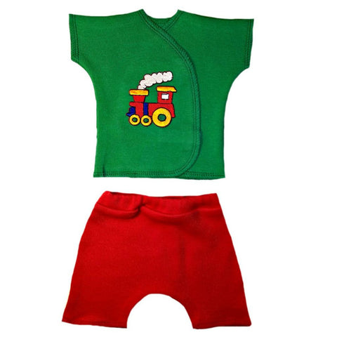 Baby Boys' Choo Choo Train Shorts Set for Premature Babies, NICU Micro Preemie and Newborns