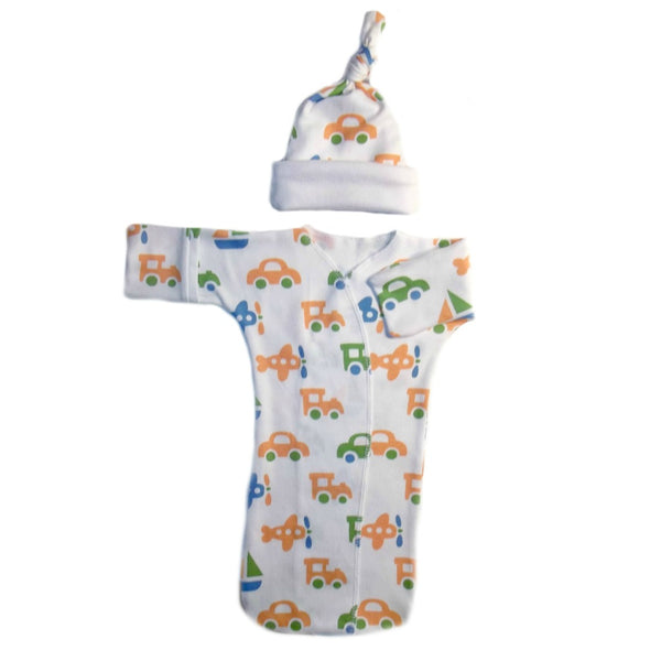 Baby Boys' Trains and Planes Bunting Gown and Hat
