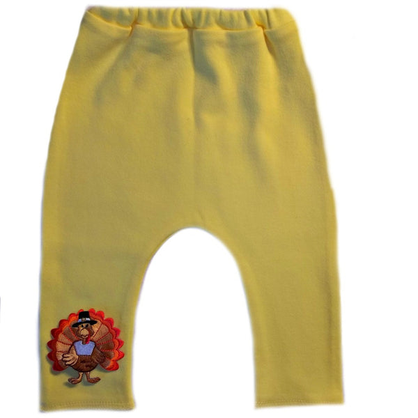 Unisex Baby Yellow Thanksgiving Pants with Turkey