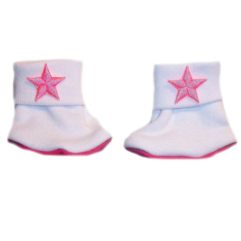 Newborn and Preemie Baby Girls' Neon Pink Stars Booties