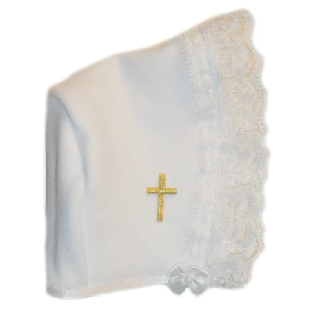 Baby Girls' White Bonnet with Gold Cross