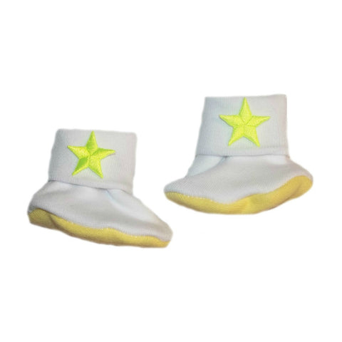 Newborn and Preemie Baby Girls' Neon Yellow Stars Booties