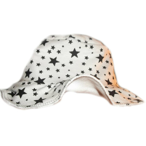 Unisex Baby White Sun Hat with Black Stars