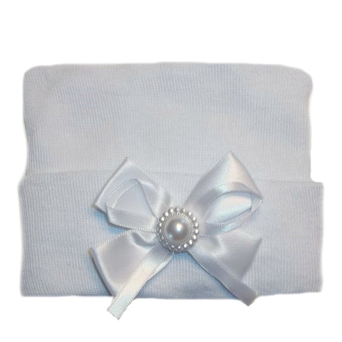 White Baby Girl Hospital Hat with White Bow and Pearl