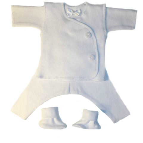 Baby Boys' All White Vest Suit for Preemie and Newborn