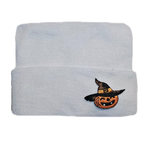 White Hospital Hat with Witch Pumpkin Applique for Preemies and Newborns