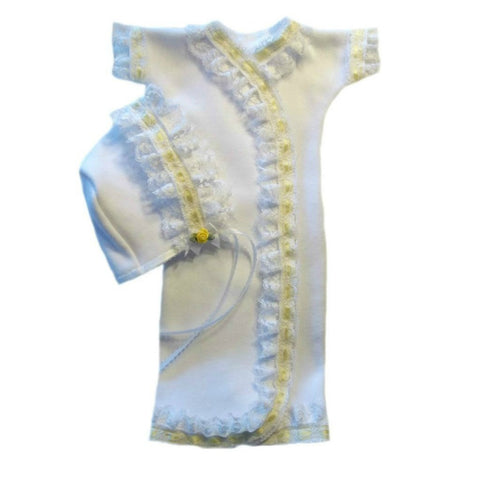Baby Girls' White Gown and Bonnet Set with Yellow Lace Trim