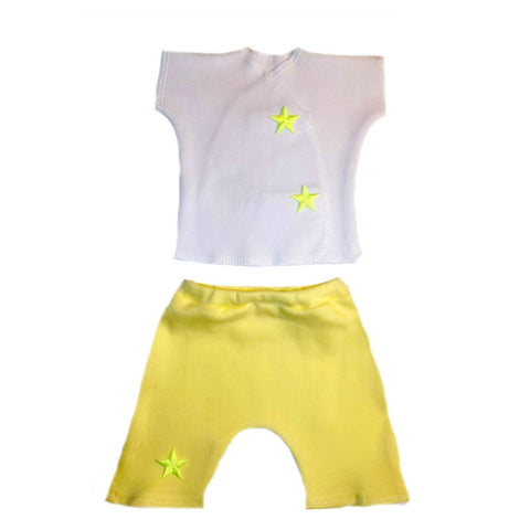 Newborn and Preemie Unisex Baby Yellow Neon Stars Shorts Clothing Set