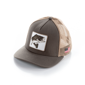 *NEW* Pro Fish Gear Taupe Large Mouth Bass Snapback Hats Line Cutterz
