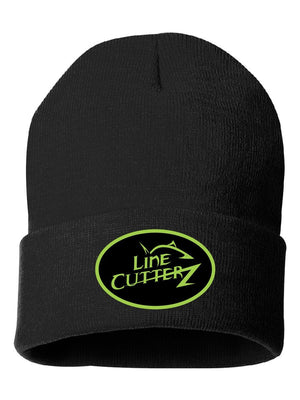 2018 Line Cutterz  Full Logo PVC Patch - Black Beanie