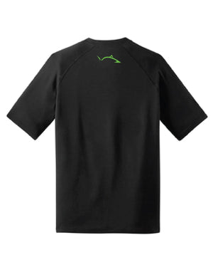 *NEW* Bright Green Pro Fish Outline Stealth Black Raglan Shirt Shirts Line Cutterz Small
