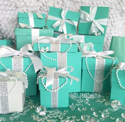 & 9x9 Bling Gift Box Centerpiece With Ribbon u2013 SlimCrafts