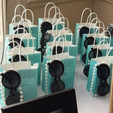 25 Blue Mini Kraft Favor Bags With Handles