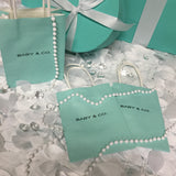 "50 Blue ""BABY & CO. or BRIDE & CO. Mini Kraft Favor Bags With Handles"