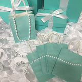 "30 Blue ""BABY & CO."" or ""BRIDE & CO."" Mini Kraft Favor Bags With Handles"