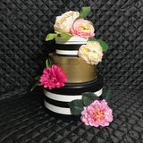 Kate Spade inspired floral striped centerpiece