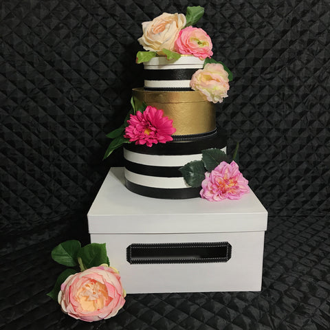 Striped Card box With Flowers
