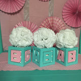 4 Baby & Co Block Centerpieces With Flowers