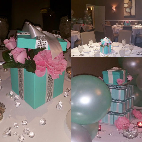 & 7x7 Bling Gift Box Centerpiece With Ribbon u2013 SlimCrafts