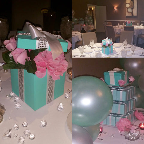 7x7 Bling Gift Box Centerpiece With Ribbon