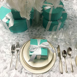 10 6inch Blue Favor Box With Lid And Ribbon