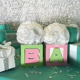 3 Baby & Co Block Centerpieces With Flowers