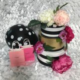 Striped Floral Centerpiece With Flowers