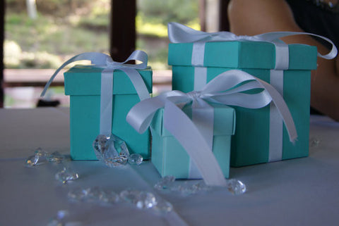 25 Blue Favor Boxes with ribbon 2x2inch