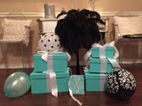 12inch Blue Square Gift Box Centerpiece With Ribbon