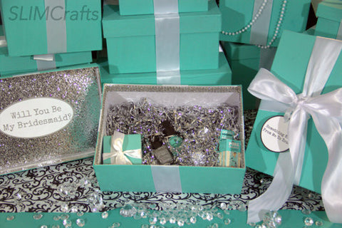 7 Silver Glam Bridesmaid Proposal/ Bridal Party Keepsake Gift Boxes